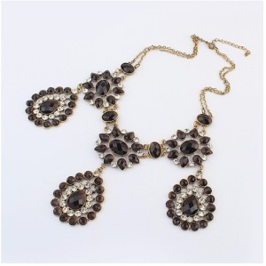 S-0089 European Vintage Style Bronze Metal Crystal Rhinestone Drop Flower Pendant Necklace Earring Set