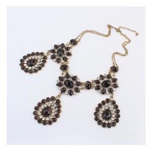 S-0089 European Vintage Style Bronze Metal Crystal Rhinestone Drop Flower Pendant Necklace Earring Set