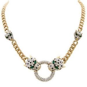 N-3434 European Style Gold Plated Metal Link Chain Crystal Rhinestone Hoop Leopard Pendant Necklace