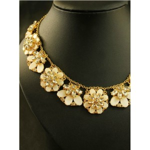 N-3536 New Fashion European Charming Gold Plated Metal Shell Crystal Flower Choker Pendant Necklace