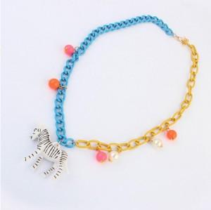 N-3544 New Fashion European  Blue Yellow Chain Beads Zebra Pendant Sweater Necklace
