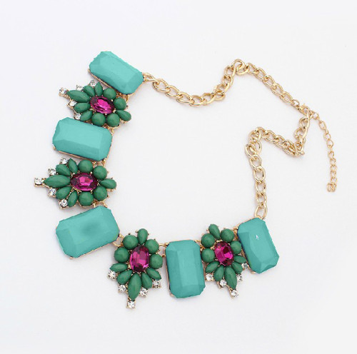 N-3545 New fashion Style Gold Plated  resin Square gem rhinestone crystal flower Choker Necklace
