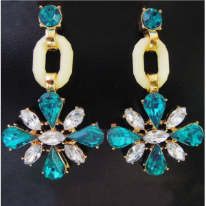 E-0307 Charming European Fashion Clear/Blue Crystal Flower Dangle Ear Stud Earrings