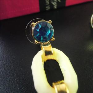 E-0307 Charming European Fashion Clear/Blue Crystal Flower Dangle Ear Stud Earrings