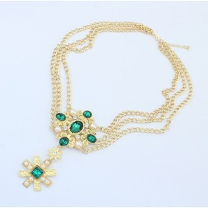 N-3547European Style Gold Plated Alloy Pearl Crystal Flower Star Pendant necklace