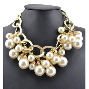 N-1662 New Arrival European Fashion hite/Black Pearl Beads Pendant Choker Necklace