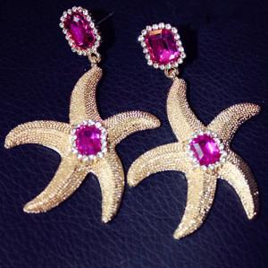 E-3010European Style Gold Plated Metal Rose Crystal Starfish Dangel Ear Stud Earring