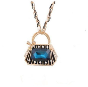 N-3554New Arrival Fashion Gold Plated Alloy Ribbon Chain Bowknot Rhinestone Crystal Bag Pendant Necklace