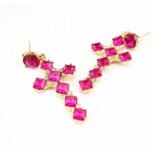 E-3012 Charming European Style Square Crystal Rhinestone Cross Dangle Ear Stud Earrings