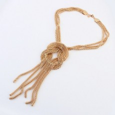 N-3564 Fashion European Style Gold Plated Metal  Snake Chains Knot Tassels Necklace