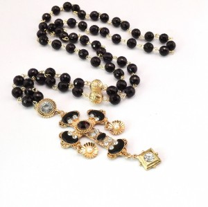S-0090 Fashion European Black Bead Chain Enamel Rhinestone Cross Flower Pendant Necklace Earrings Set
