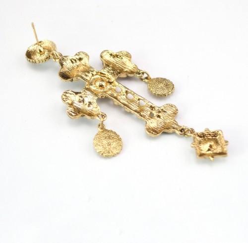 S-0090 Fashion European Black Bead Chain Enamel Rhinestone Cross Flower Pendant Necklace Earrings Set