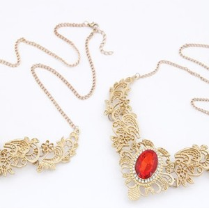 N-3561New Fashion European Gold Plated Hollow Out Lace Crystal Rhinstone Flower Choker Necklace