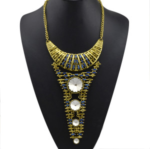 N-3562 European style vintage gold chain metallic crescent with long triangle pendant big round crystal geometry choker necklace earrings set