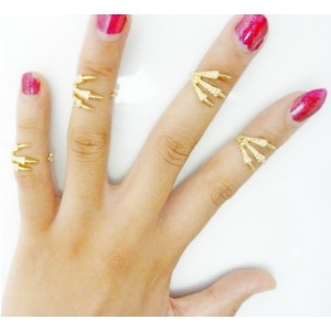 R-1106 New Arrival Korea Style Silver Gold Plated Metal Simple Claw Finger Ring