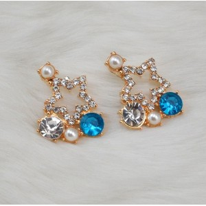 E-3017Fashion European Style Gold Plated Alloy Crystal Pearl Rhinestone Star Ear Stud Earrings