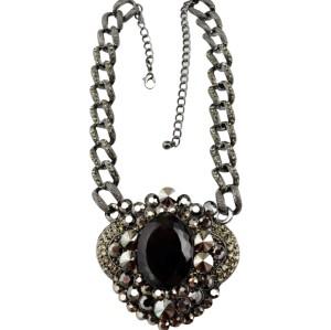 N-3567New Arrived  Punk Gun Black Alloy Link Chain Rhinestone Black Crystal Big Flower Choker Necklace