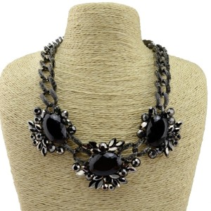N-3565 New Arrived  Punk Gun Black Alloy Link Chain Rhinestone Black Crystal Big Flowers Pendant Necklace
