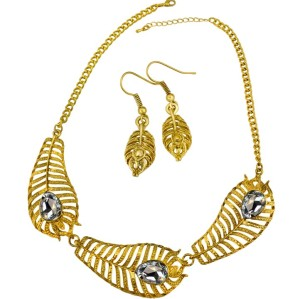 N-3570 New Arrived Vintage Gold Alloy Hollow Out Feather Shape Drop Crystal Earring Necklace