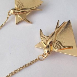 P-0115 New European Style Gold/Silver Triangle Bird Link Chain Tassels Cute Pin Brooch