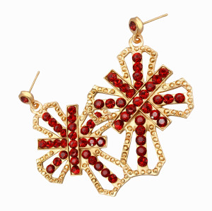 E-3014 Fashion Gold Plated New Irregular Red/Blue/Rose Rhinestone Ornaments Nice Crosses Dangle Earrings