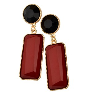 E-3018 Fashion Gold plated Plated Resin Gem Geometry Dangle Earrings