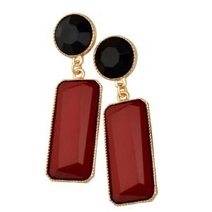 E-3018 Fashion Gold plated Plated Resin Gem Geometry Dangle Earrings