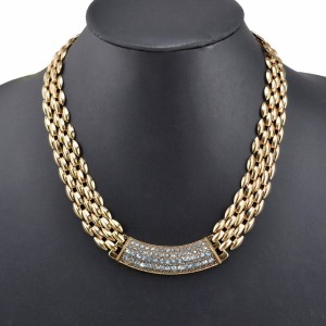 N-3577 New Arrived Fashion European Gold Plated Metal Flat Chain Rhinestone Pendant Necklace