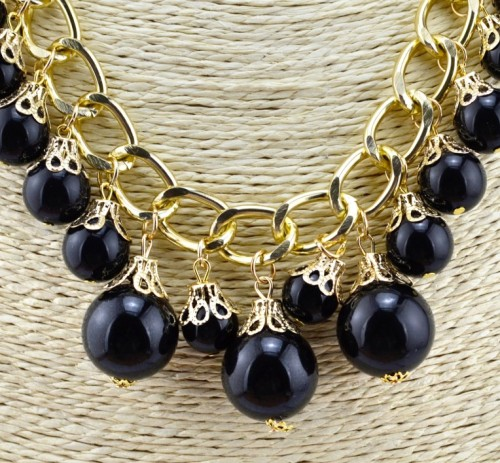N-3583 European Style Gold Plated Link Chain Flower White Black 2 Colors Pearl Beads Tassels Necklace