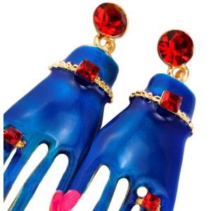 E-3019 European Fashion Gold plated Metal Enamel Rhinestone Hand Dangle Earrings