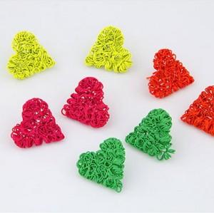 E-1221 Charming European Lovely Fluorescence Colorful Heart Ear Stud Earrings