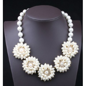 N-3586 European Style Gold Plated Alloy Pearl Chain Drop Clear Rhinestone Flower Necklace Wedding Jewelry