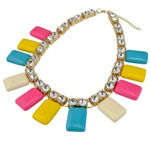 N-3587 European Style Gold Plated Alloy Clear Crystal Square Geometry Resin Gem Necklace