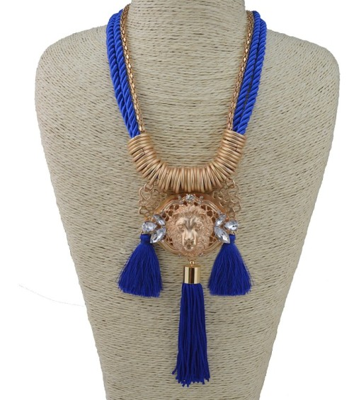 N-3429 New Arrival European Gold Alloy Ribbon Snake Double Chain Crystal Flower Lion Pendant Necklace set