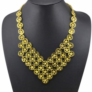 N-3593 Vintage golden metal small combination hollow out flowers with rhinestone pendant matching earrings choker necklace earrings set