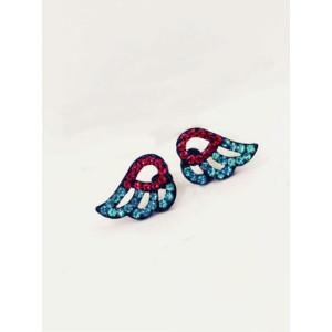 E-3026 Fashion  Black Metal Blue Red Rhinestone Angel Wing Stud Earrings