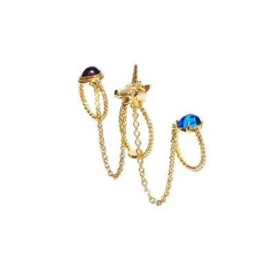 R-1108New Arrival Gold Plated Alloy  Blue Purple Resin Gem Ring Unicorn Chain Rings