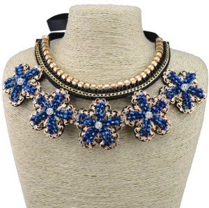 N-3596 Fashion retro style black silk chain vintage hollow out flower with royalblue rhinestone pendant cotton false collar necklace