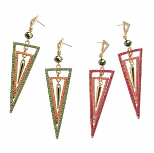 E-3031 Fashion Gold Plated Metal  Pink Green  Beads Rivet Geometry Trangle Stud Dangel Earrings