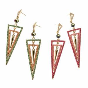E-3031 Fashion Gold Plated Metal  Pink Green  Beads Rivet Geometry Trangle Stud Dangel Earrings