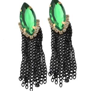 E-3030 Fashion Gold Plated Metal Green Crystal Black Chains Tassels Stud Dangel Earrings