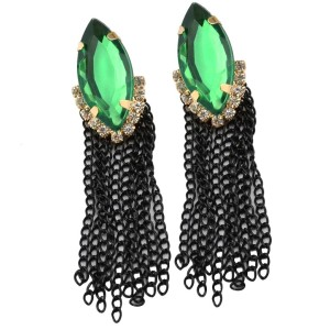 E-3030 Fashion Gold Plated Metal Green Crystal Black Chains Tassels Stud Dangel Earrings