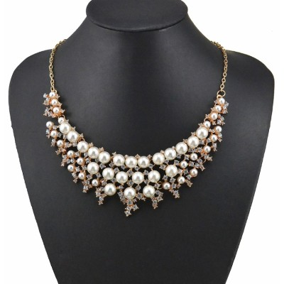 N-3599 Fashion Korea Style Gold Plated Alloy White/colorful Pearl Clear Rhinestone Flower Wedding Necklace