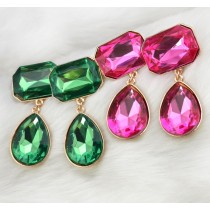 E-3033 Fashion Gold Plated Metal Drop Geometry Crystal Ear Stud Dangel Earrings