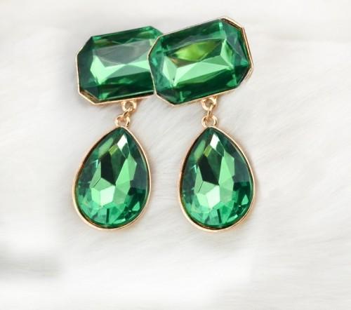 E-3033 Fashion Gold Plated Metal Drop Geometry Crystal Ear Stud Dangel Earrings