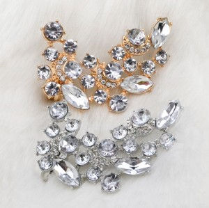 E-3032 Fashion Charming Gold/Silver Plated Metal Crystal Flower Ear Stud Ear Clip