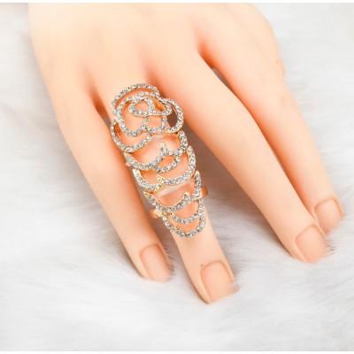 R-1110 New Arrival Fashion Charming Silver Gold Plated Alloy  Rhinestone Rose Flower Double Ring