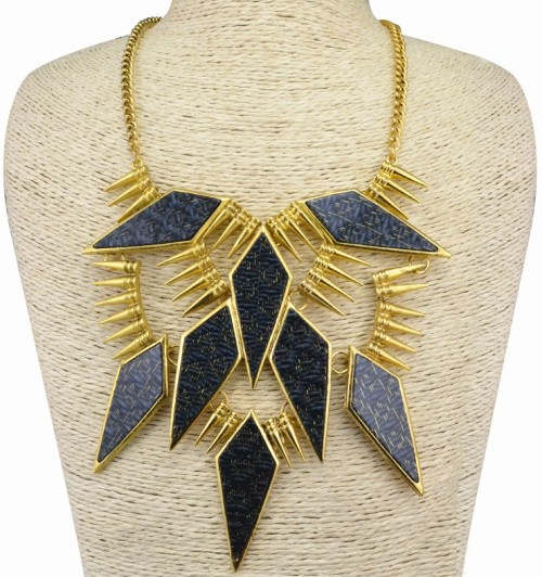 N-3607 European Style Gold Plated Metal Rivets Acrylic Geometry Pendant Necklace Earring Set
