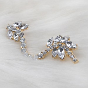 E-3039 Korea Style Silver/Gold Plated Metal Rhinestone Crystal Leaves Flower Ear Cuff Earrings