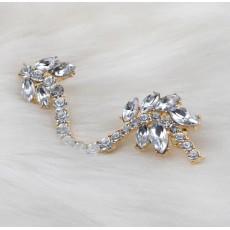 E-3039 Korea Style Silver/Gold Plated Metal Rhinestone Crystal Leaves Flower Ear Cuff Earrings